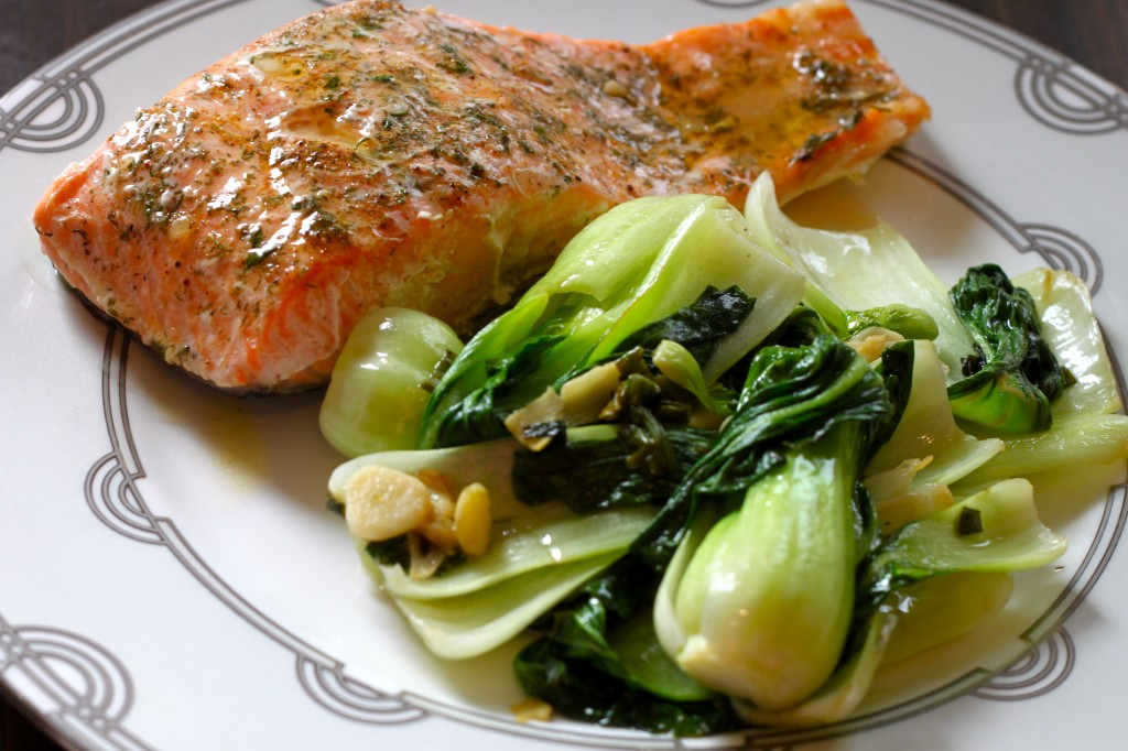 Image result for salmon pak choi